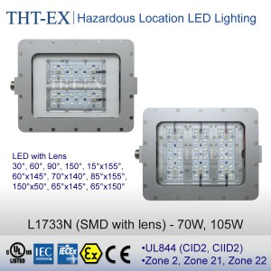 IECEx&ATEX-70W, 105W - L1733N (Lens with NEMA Beam Angle Types)